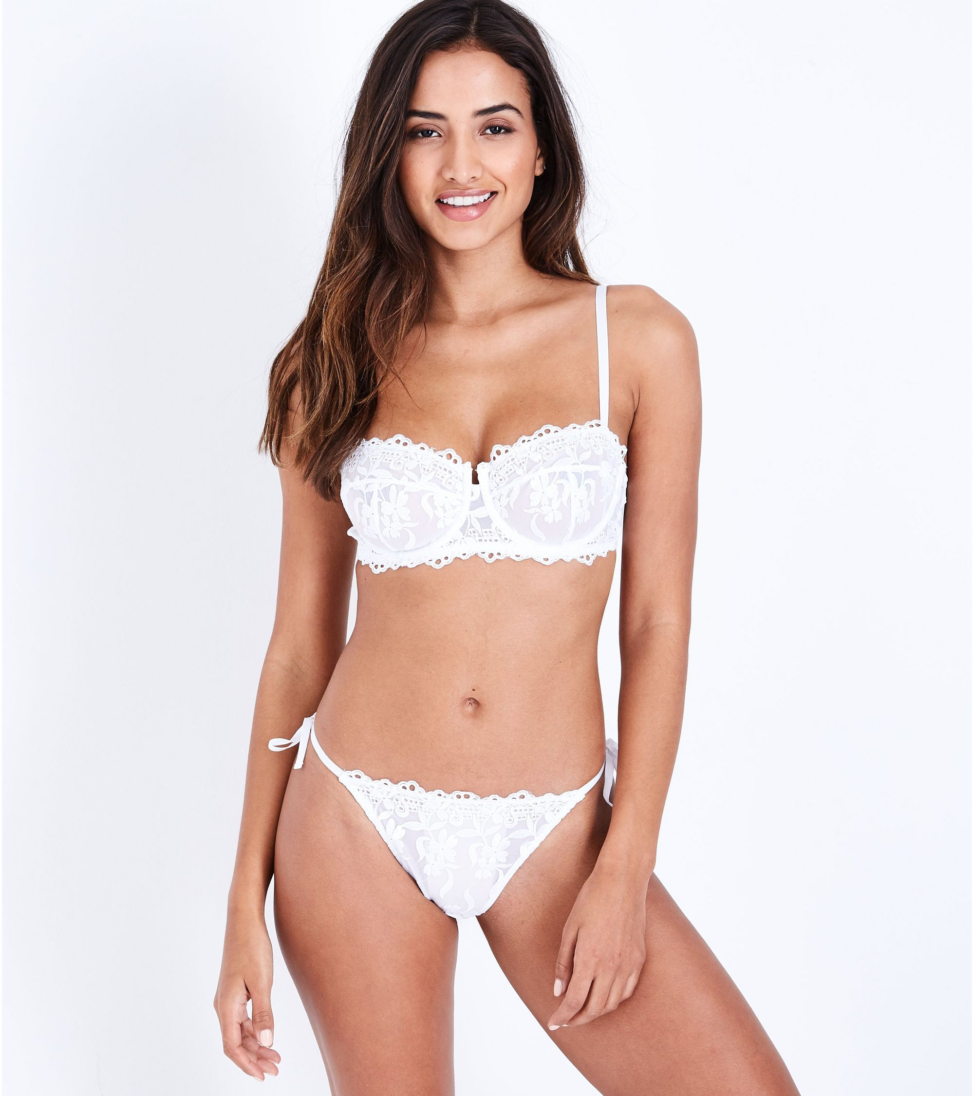 e76bcb78cc4 New Look White Lace Floral Embroidered Tie Side Thong at £5.99 ...
