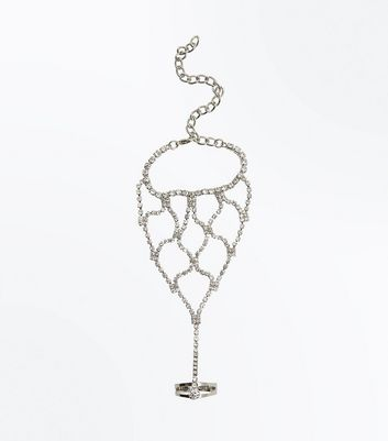 Silver Diamante Embellished Handchain New Look