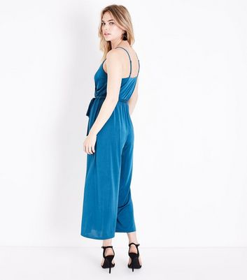 Teal Wrap Front Wide Leg Jumpsuit New Look