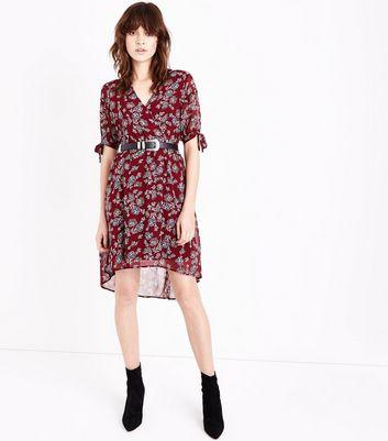Red Floral Print Dip Hem Dress New Look