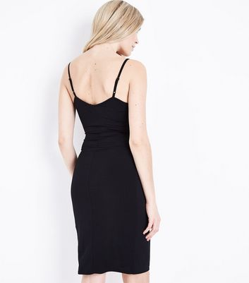Black Wrap Front Bodycon Dress New Look