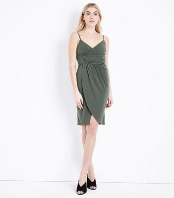 Khaki Wrap Front Bodycon Dress New Look
