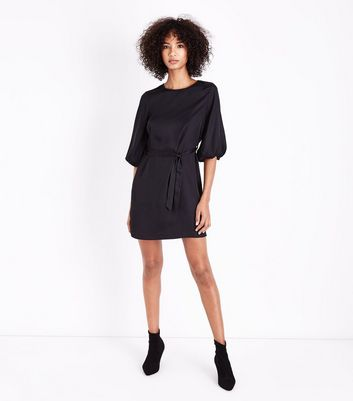 Black Satin Puff Sleeve Belted Tunic Dress New Look