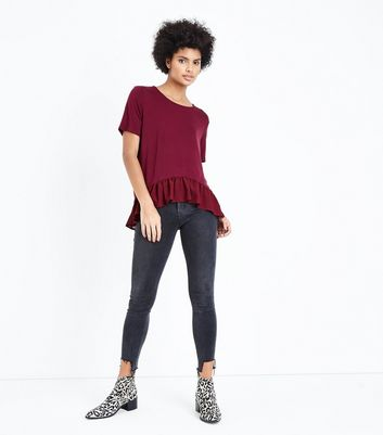 Burgundy Chiffon Peplum Hem T-Shirt New Look