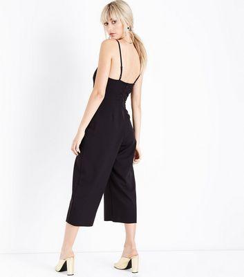 Black High Neck Culotte Jumpsuit New Look
