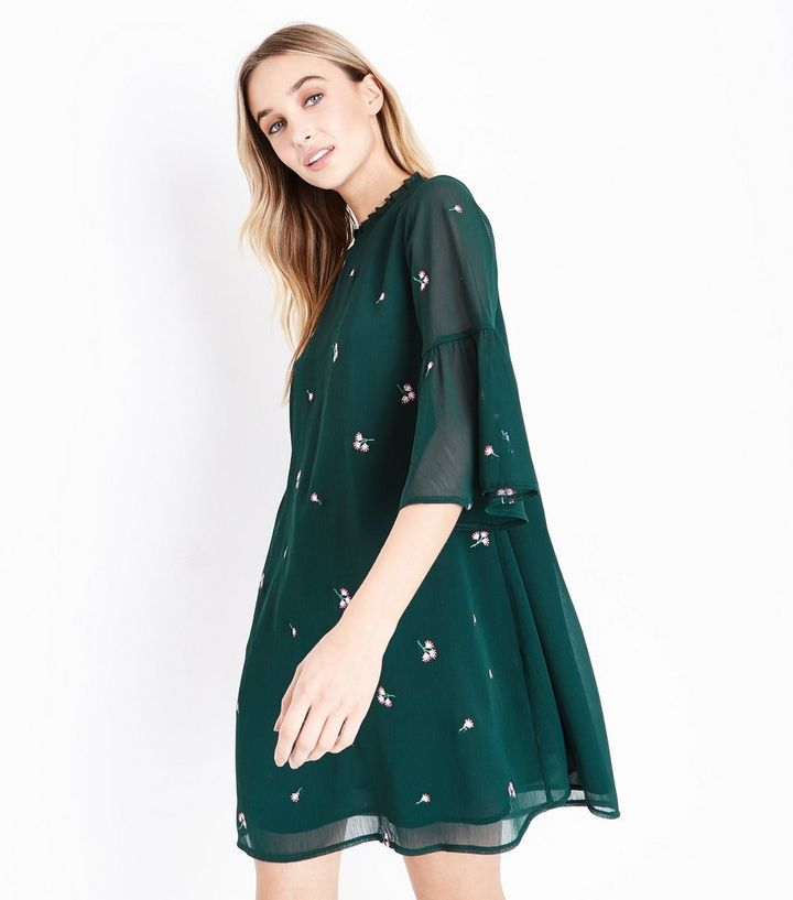 7fc461f10 Dark Green Floral Embroidered Bell Sleeve Dress   New Look