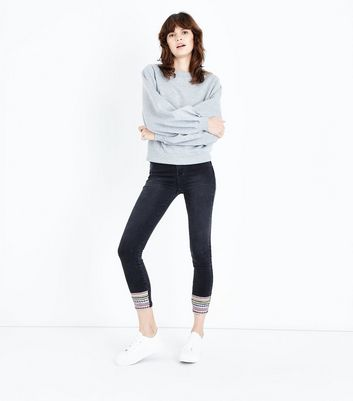 Black Chevron Hem Skinny Jenna Jeans New Look
