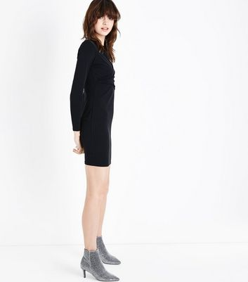 Black Wrap Front Long Sleeve Bodycon Dress New Look