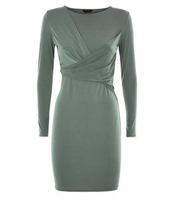 Khaki Wrap Front Long Sleeve Bodycon Dress New Look
