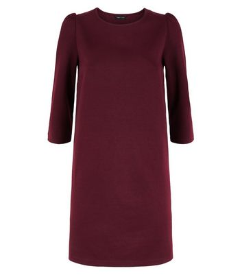 Burgundy Puff Sleeve Jersey Tunic Dress New Look