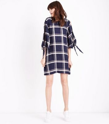 Blue Check Tie Sleeve Tunic Dress New Look