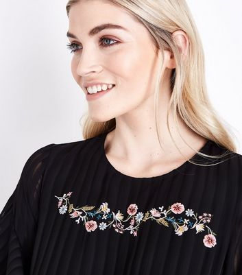 Black Embroidered Stripe Chiffon Frill Sleeve Dress New Look