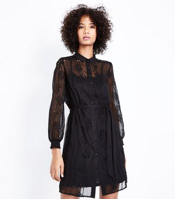 Black Chiffon Embroidered Cut Out Shirt Dress New Look