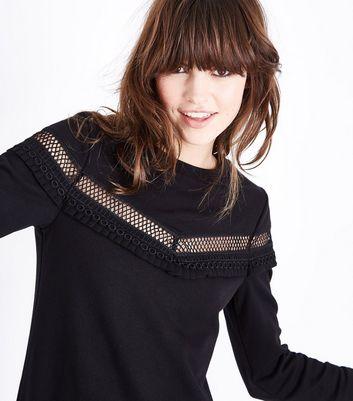 Black Lattice Frill Trim Sweater Dress New Look