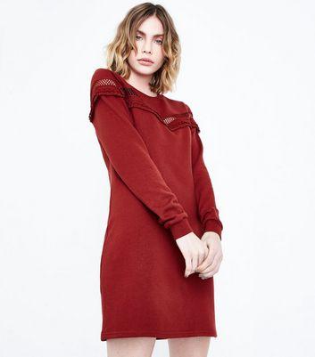 Rust Lattice Frill Trim Sweater Dress New Look
