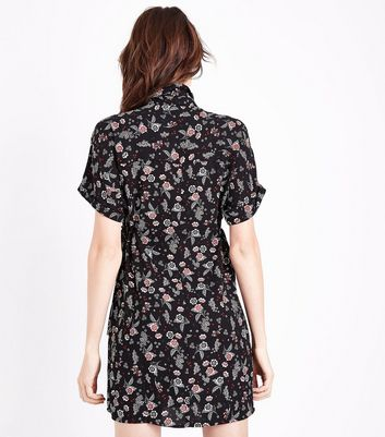 Black Floral Tie Side Shirt Dress New Look
