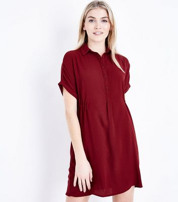 Burgundy Drawstring Side Shirt Dress New Look