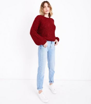 Red Deep Ribbed Jumper New Look