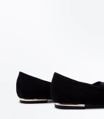 Black Suedette Metal Heel Pointed Pumps New Look