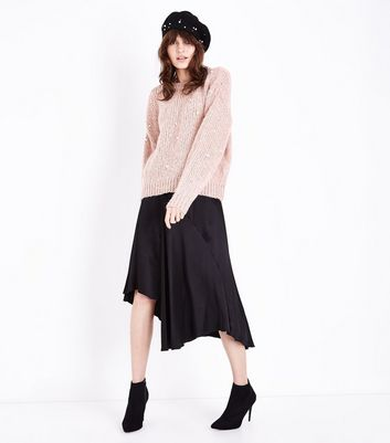 Pink Pearl Embellished Slouchy Jumper New Look