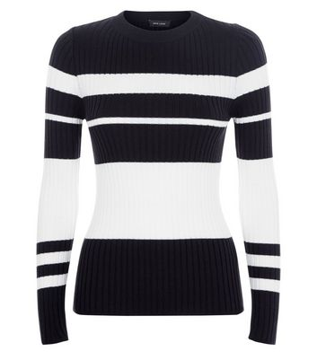 White Colour Block Stripe Jumper New Look