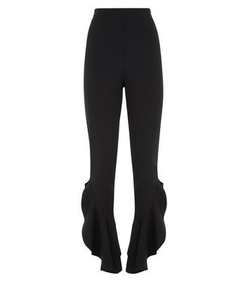 Black Frill Side Trousers New Look