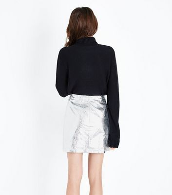 Silver Crackle Leather-Look Mini Skirt New Look