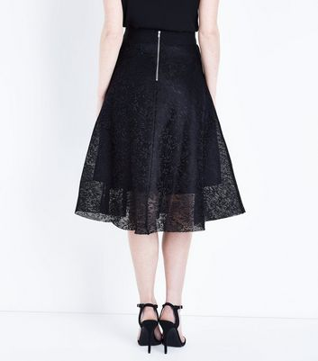 Black Lace Midi Skirt New Look