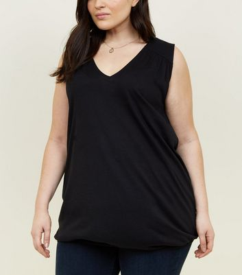 Curves Black V-Neck Bubble Hem Vest
