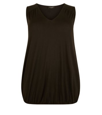 Curves Black V-Neck Bubble Hem Vest New Look