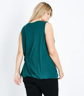 Curves Dark Green V Neck Bubble Hem Vest New Look