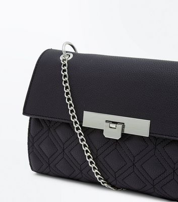 Black Quilted Chain Shoulder Bag New Look