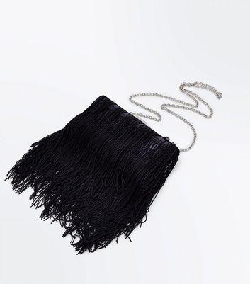 Black Tassel Fringe Box Clutch Bag New Look