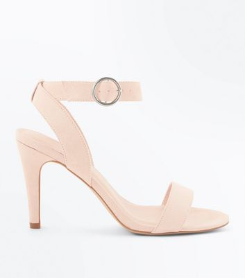 Nude Suedette Circle Buckle Heeled Sandals New Look