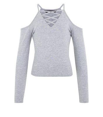 Teens Grey Lattice Front Cold Shoulder Top New Look