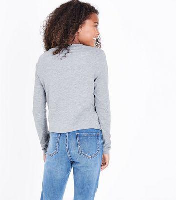 Teens Grey Long Sleeve Twist Front Top New Look