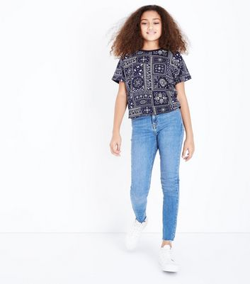 Teens Blue Paisley Print T-Shirt New Look