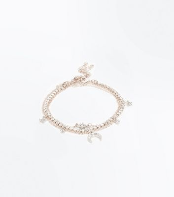 Rose Gold Star Layered Anklet New Look