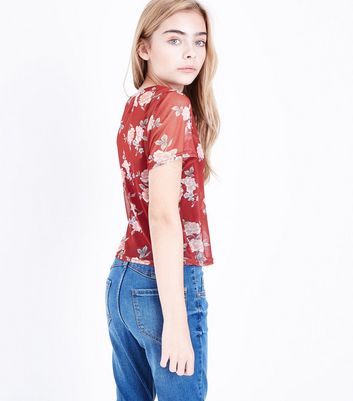 Teens Red Floral Box Mesh T-shirt New Look