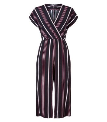 Petite Black Stripe Culotte Jumpsuit New Look