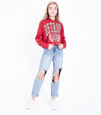 Teens Red Detroit Print Hoodie New Look