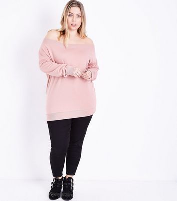 Curves Shell Pink Bardot Neck Sweatshirt New Look