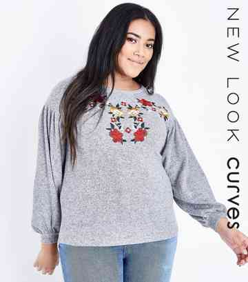 Curves Grey Floral Embroidered Balloon Top