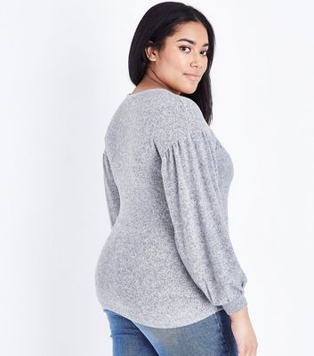 Curves Grey Rose Embroidered Balloon Top New Look