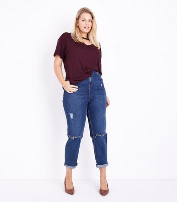 Curves Burgundy Choker Neck T-Shirt New Look
