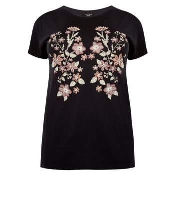 Curves Black Floral Puff Print T-Shirt New Look