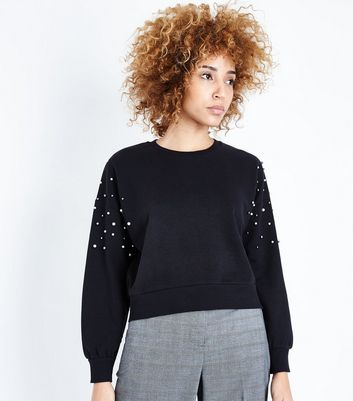Black Pearl Embellished Sweatshirt New Look
