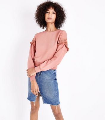 Rust Crochet Sleeve Sweatshirt New Look