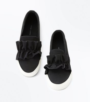 Black Suedette Frill Trim Slip On Trainers New Look