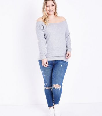Curves Grey Bardot Neck Sweatshirt New Look
